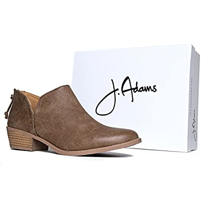 J. Adams Levi Ankle Bootie - Western Cowboy Pointed Toe Low Heel Ankle Boot   Ankle & Bootie