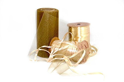 Tulle and Pearl Raffia Gift Wrap Ribbon Bundle (Gold) Pearl Raffia