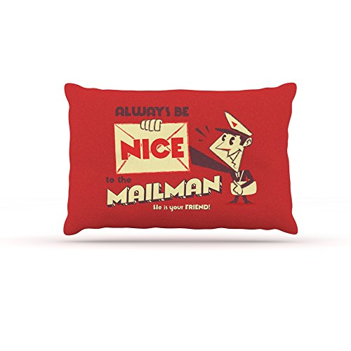 Kess InHouse Roberlan Be Nice To The Mailman  Fleece Dog Bed, 50 by 60 , Red Tan