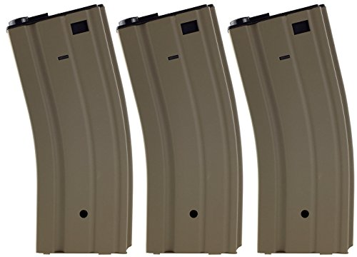 SportPro Jing Gong 300 Round Metal High Capacity Magazine for AEG M4 M16 3 Pack Airsoft - Tan ()