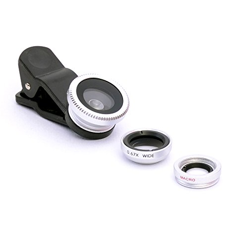 3-in-1 Macro/Fish-eye/Wide Clip Lens for Mobile Phone and Tablets (Silver) - 2