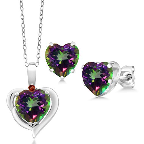 Gem Stone King 6.62 Ct Heart Shape Green Mystic Topaz Garnet 925 Silver Pendant Earrings Set