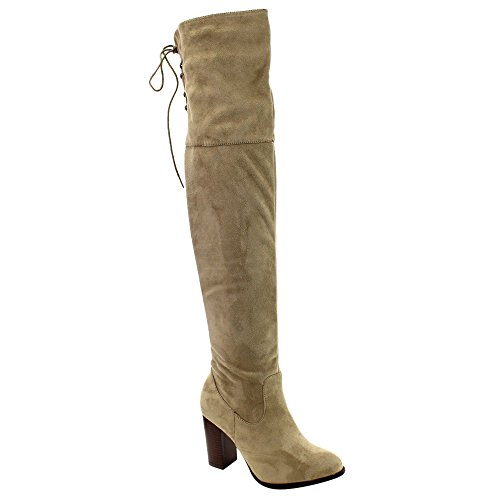 Qupid Zink-01 Frauen Lace Up Zurück Stretchy Overknee Stacked Chunky Boots Taupe