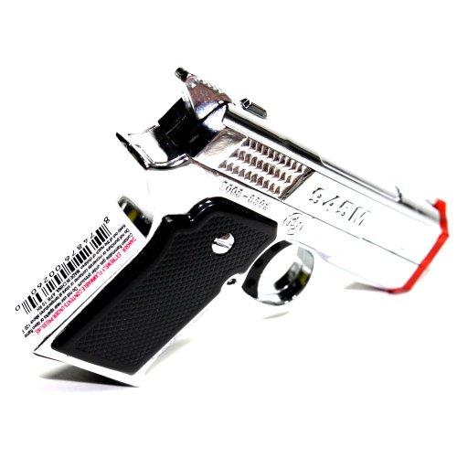 9MM Hand Gun Chrome Color Dual Jet Flames Refillable Butane Torch Lighter 3 Inch
