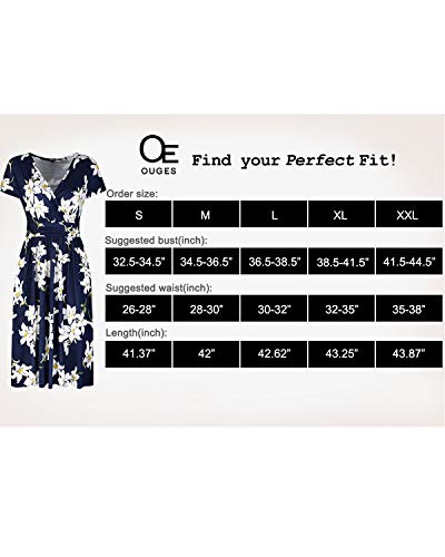 OUGES Women's Summer Short Sleeve V-Neck Floral Short Party Dress with Pockets 6