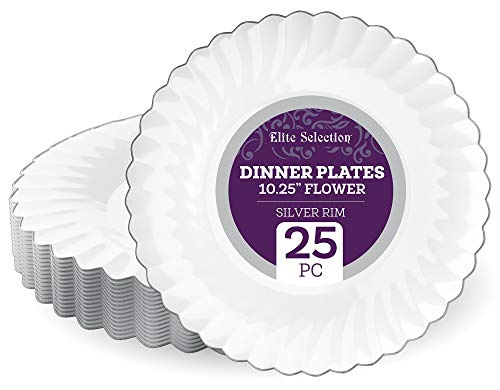 Elite Selection Pack Of 25 White Dinner Disposable Party Plastic Plates With Silver Flower Rim 10.25-Inch  ()