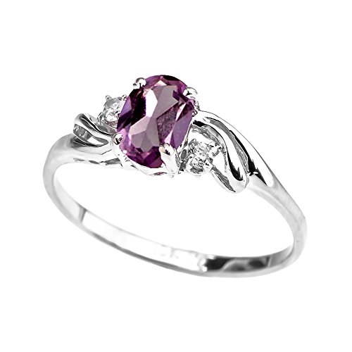 Exquisite 14k White Gold Oval-Shaped June Birthstone with White Topaz 3-Stone Proposal Ring (Size 4)