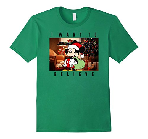Mens Disney Micky Mouse Christmas Believe T-Shirt Large Kelly Green (Micky Mouse Christmas)