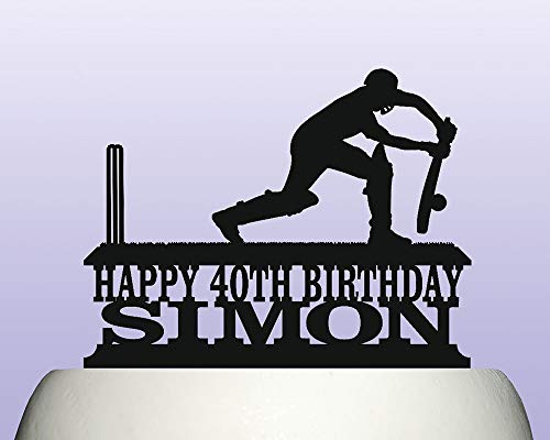 Personalised Acrylic Cricket Batsman Defence Birthday Cake Topper for Anniversary Party Decorations Birthdays, Weddings, Themed Parties Cake Decoration In Your Choice of Color