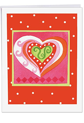 ART HEARTS Happy Valentines Day Card with Envelope Jumbo 8.5 x 11 Inch - Artistic Heart Design Pink, Red, Orange Hues in Frame - White Polka Dots Stationery for Personalized Love Letter J6725HVDG