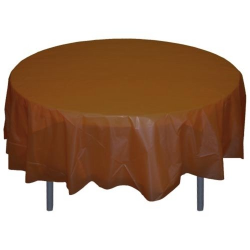 6-Pack Premium Plastic Tablecloth 84in. Round Plastic Table cover - Brown
