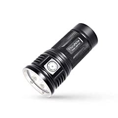 Specifications:   LED: CREE XHP 70B.   Runs on: 4 x IMR 18650 (ThruNite 18650 3100Mah).   Reflector: Orange peel reflector.  Working Voltage: 10.5-17.5V  Output mode/Runtime*:  Turbo (11000 lumen; 85 minutes) Infinity High (8000 lumen; 90 min...