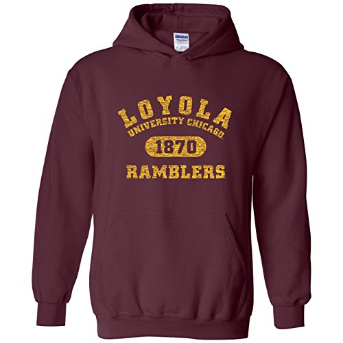 UGP Campus Apparel AH20 - Loyola University Chicago Ramblers Athletic Arch Hoodie - Medium - Maroon