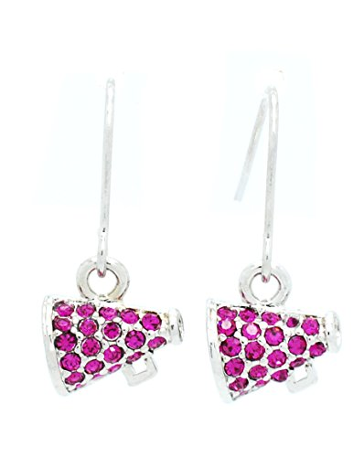 Violet Victoria & Fan Star Megaphone Earrings - Dangle - Cheer Earrings - HOT Pink Crystal -