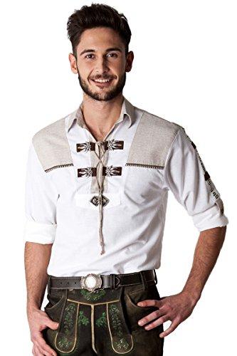 Ludwig und Therese Herren Trachtenhemd Frederik, weiß beige H040022 42