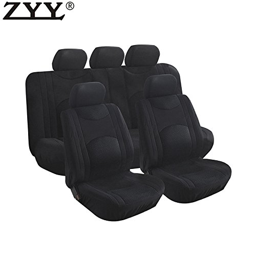 Mgpro New 9x Universal Blk Airbag Split Bench Headrest Front & Rear Covers For Dodge Lincoln Ram