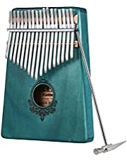 Flash hawk 17-Key Kalimba Portable Thumb Piano With Carry Bag Stickers,Study Instruction and Tune Hammer Portable Mbira Sanza African Wood Finger Piano, Gift for Kids Adult Beginners Professional