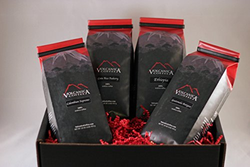 Coffee Lover Gift Box, Whole Bean, Fresh Roasted, 4 X 16-ounces, Costa Rica Peaberry, Guatemala, Ethiopian, Colombian Supremo