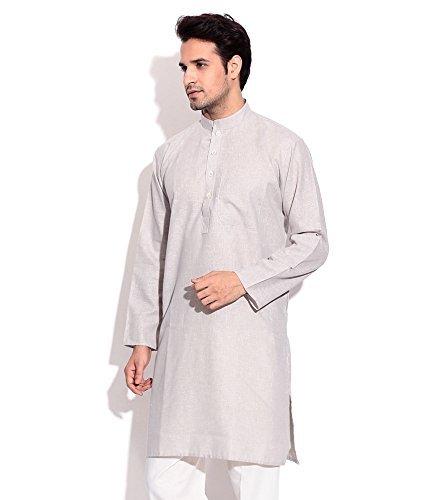 Royal Kurta Men's Summer Wear Fine Cotton Blended Straight Kurta 44 Grey