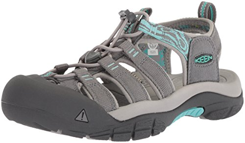 KEEN Women's Newport Hydro-W Sandal, Steel Grey/Blue Turquoise, 8 M US (Turquoise Blue Sandals)