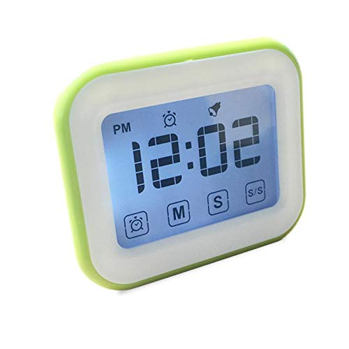 Womdee Timer Digital Alarm Clock, LCD Touchscreen Magnetic Backing Come with Night Light 2 Modes Mute/Ring, Green (Locker Digital Clock)