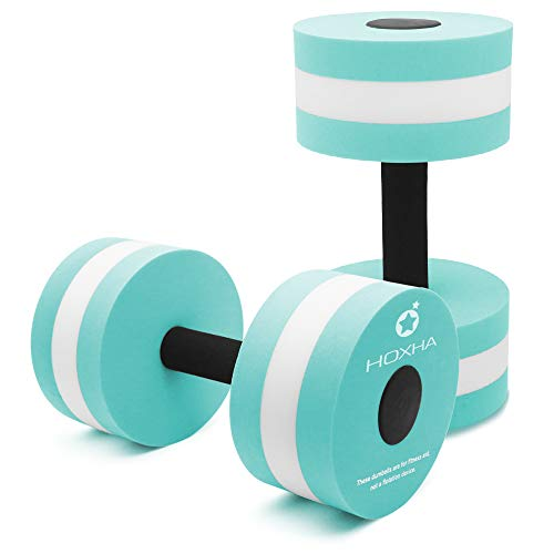 Water Dumbells, Aquatic Exercise Dumbell Set of 2 Water Aerobic Exercise Foam Dumbbells Pool Resistance Water Fitness Equipment for Weight Loss (Cyan)