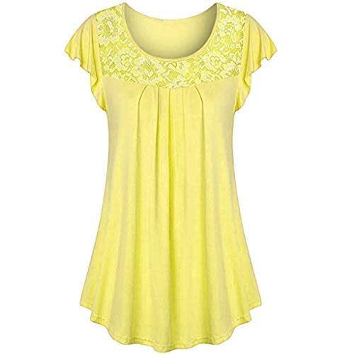 TWGONE Tunic Tops for Leggings for Women Short Sleeve Ladies Solid Lace Patchwork Ruched Blouse Shirt (Yellow,Medium) ()
