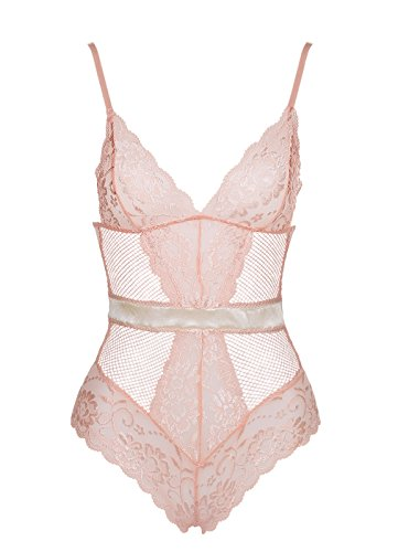 Garmol Women Sexy Lingerie One Piece Fishnet Teddy Lace Cups Bodysuit Mesh Babydoll (Medium, Beige)