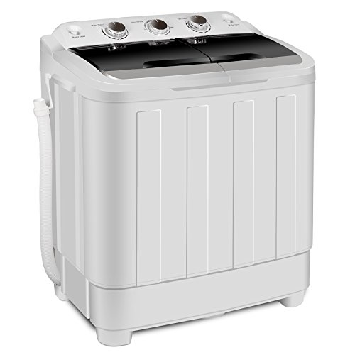 ZENY Portable Mini Compact Twin Tub Washing Machine Washer Spain Spinner 17.6lbs Capacity, Black+ White