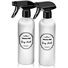 Kiloline Empty PET Plastic Spray Bottles (2-Pack) Refillable 17oz.Black Trigger Sprayer w/ Mist/Stream/Off Settings Leakage-proof|Container for Water/Cleaning Products/Essential Oils/Vinegar/Alcohol
