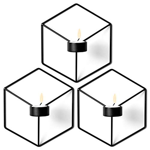 (Nordic Style Wall Candle Holder Minimalist 3D Geometric Candlestick Ornaments Sconce Small Tealight Home Decoration,Black 3PC )