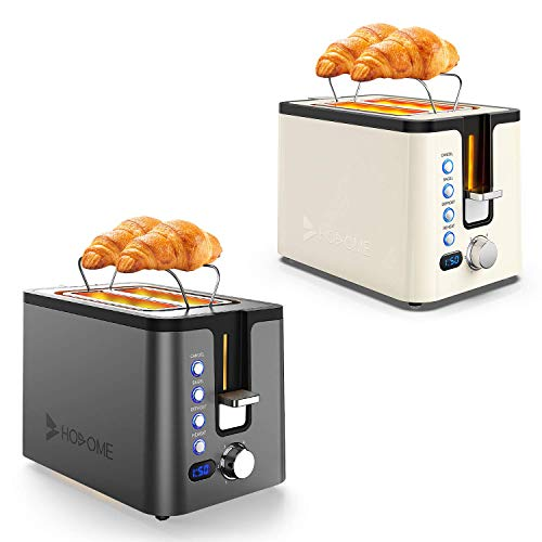 Hosome Toaster 2 Slice, Stainless Steel Bread Bagel Toaster Extra Wide Slot Toasters with Warming Rack, Black+Cream