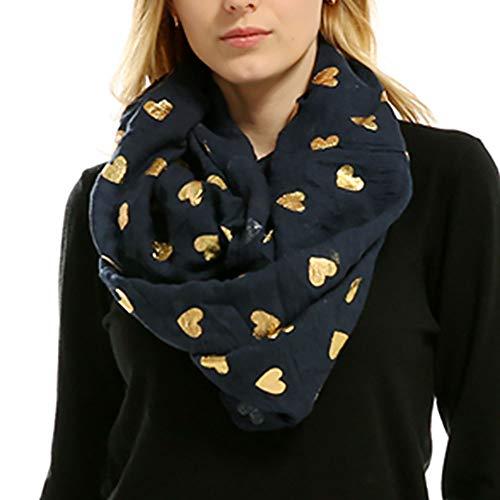 Egmy Clearance Sale ❤️ Newest Lady Women Soft Bronzing Heart-Shaped Print Neck Scarf Wrap Scarves Muffler (Navy)