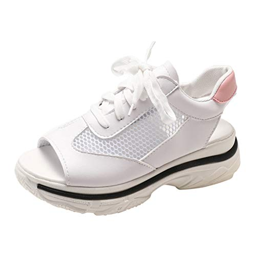 Open Toes Sneakers for Women,SMALLE◕‿◕ Women's Mesh Breathable Sandals Shape Ups Lace-Up Running Platform Shoes White