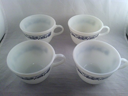 (Vintage Pyrex Old Town Blue Onion Pattern Tea Coffee Cups Mugs Set of)