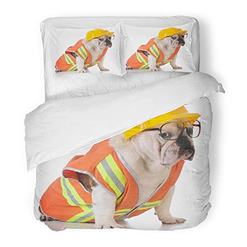 Emvency Bedding Duvet Cover Set King (1 Duvet Cover + 2 Pillowcase) Orange Safety Working Dog Bulldog Dressed Up Like Construction Worker On White Hat Hotel Quality Wrinkle and Stain Resistant]()