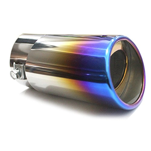 Universal Fits Slant Burnt Car Stainless Steel Exhaust Tail Muffler Tip Pipe Fit Pipe Diameter