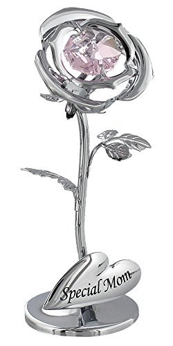 "Beautiful ""Special Mom"" Silver Plated Flower Keepsake Gift with Pink Swarvoski Crystal By Haysom Interiors"