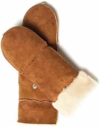 7609edde7 YISEVEN Women's Merino Sheepskin Leather Gloves Flip Fingerless Mitten Half  Finger Sherpa Fur Cuff Thick Wool