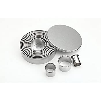 ShengHai 12 Piece Round Cookie Cutter Set, Donut Cutter Set, Stainless Steel Circle Fondant Molds For Dough Pastry Biscuits English Muffins