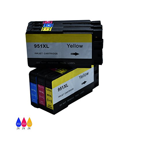 JUSTCOLOR 6 Colors Compatible Ink Cartridge Replacement for HP 951 XL 951XL 950XL Ink Cartridge(2 Cyan 2 magenta 2 Yellow) Compatible With HP Officejet Pro 8600 8610 8620 8630 8640 8660 251dw 271dw Print Cartridge Access Door