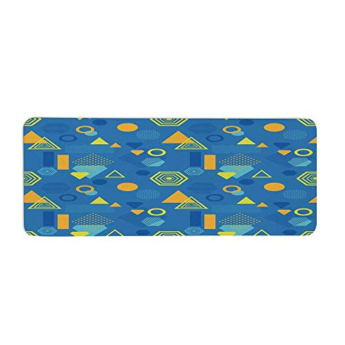 Yellow and Blue Fashionable Long Door Mat,Memphis Style Abstract Retro Geometric Forms Triangle Circle Hexagon Decorative for Home Office,23.6