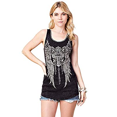 Vocal Apparel Women's Black Tank Top Shirt with Faith, Cross and Wings