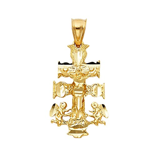 14k Yellow Gold Religious Cross of Caravaca Pendant - Height 28 MM Width 17 MM Avg. Weight 3 grams by Top Gold & Diamond Jewelry