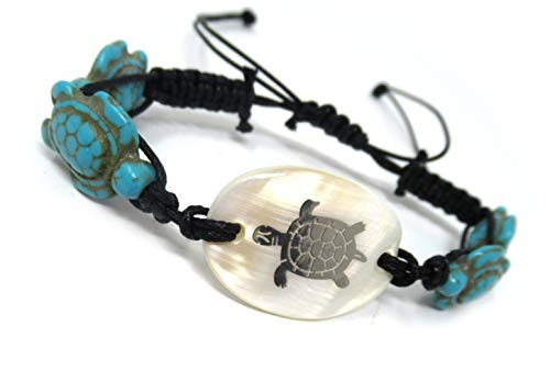 (Exotic & Trendy Jewelry, Books and More Turtle Hemp Bracelet-Black Bracelet with Turtle in Turquoise Color-Hawaiian Sea Turtle Bracelet-Hemp Bracelet (Turquoise Turtle Shell Silver Tone) )