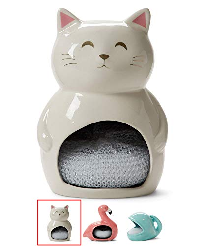 Ceramic Sponge Holder for Kitchen Sink: Tri-Coastal Design Sink or Countertop Dish Scrubber Holder with Scrubby - Kitchen Sponge Holder / Bathroom Soap Tray with Cute White Cat Design