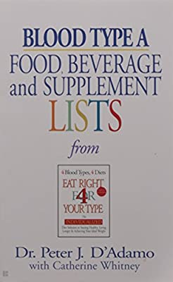 Blood Type A: Food, Beverage and Supplemental Lists from Eat Right 4 Your Type