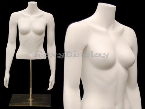 (MD-EGTFSABW) Countertop Fiberglass Headless Female Mannequin Torso, Matte White, w/arms