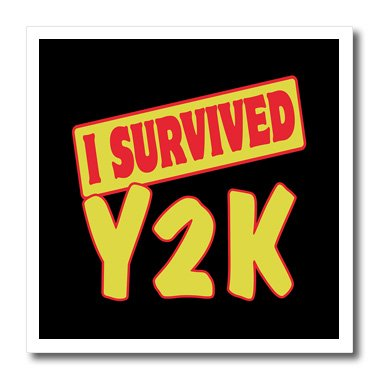Y2k Heat Transfer (3dRose ht_118483_1 I Survived Y2k Survial Pride and Humor Design-Iron on Heat Transfer for White Material, 8 by 8-Inch)