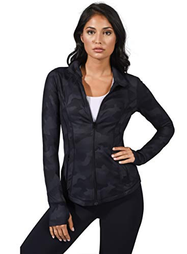 Yogalicious Womens Ultra Soft Lightweight Full Zip Yoga Jacket with Zipper Pockets - Black Camo - Small